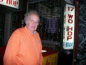 Legendary broadcaster Warner Fusselle in front of a favorite haunt, Wo Hop in Chinatown