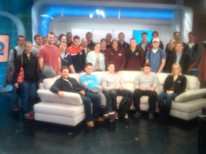JC with students at PIX11 television field trip
