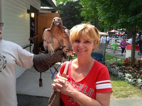 FRAN AND RED TAILED HAWK AT SARATOGA