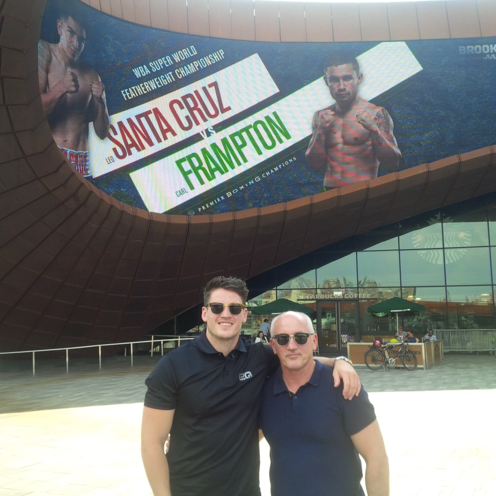 BARRY AND SHANE MCGUIGAN IN FRONT OF BARCLAYS